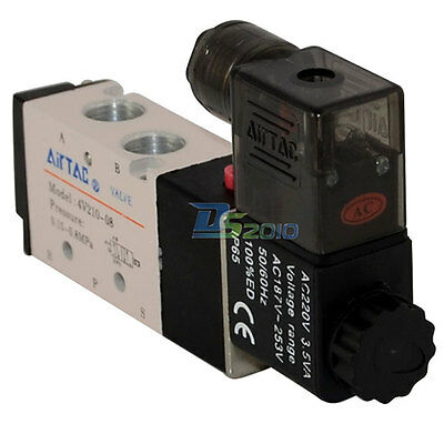 "1/4"" AC 24V 5 way 2 position Pneumatic Electric Solenoid Valve NPT  Air Aluminum"