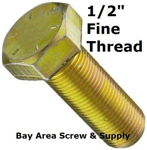 "Fine Thread Yellow Zinc Hex Bolts 1//2/"" x 2-1//2/"" Grade 8 w\wo Nuts Washers 50"