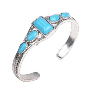 Vintage-Women-Boho-Tibetan-Silver-Turquoise-Open-Bangle-Cuff-Bracelet-Jewelry