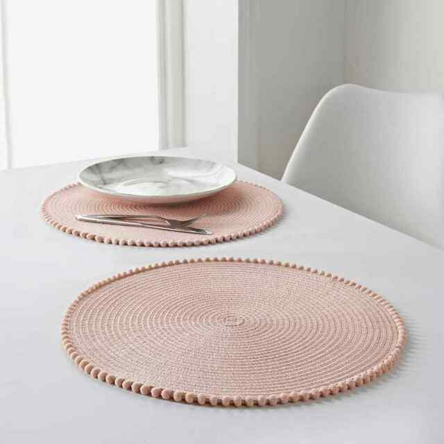 Set 2x Round Woven Placemats Table Mats, Placemat For Round Table