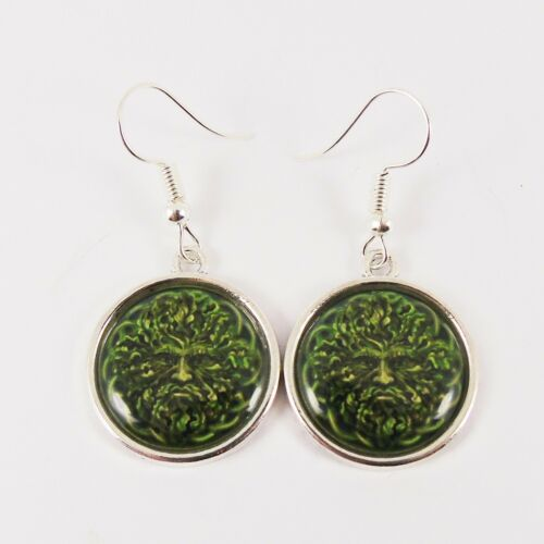GREEN MAN EARRINGS greenman pagan wiccan mystical witch god celtic tree book