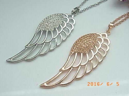 Kette Halskette Lange Kette mit Anhänger Flügel Strass versch Farben