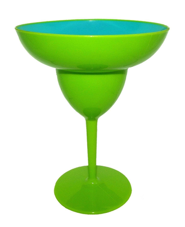 Plastic Giant Margarita Glass 6.5 x 8.5 Inches (Green)