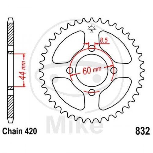 JT Kettenrad 46 Zähne Teilung 420 schwarz JTR832.46