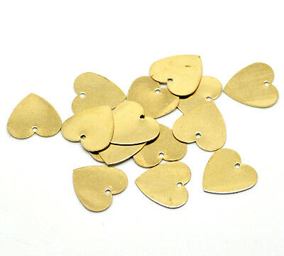30 Blank Heart StampingTags Discs Gold Plated 13mm Charms J18581C
