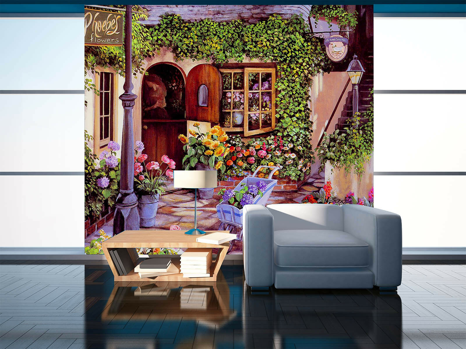 Papel Pintado Mural De Vellón Tiendas Florería 2 Paisaje Fondo De Pansize ES AJ