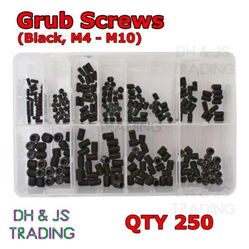 Assorted Box of Grub Screws Black M4 M5 M6 M8 M10 Qty 250 Screw Set Hex Socket