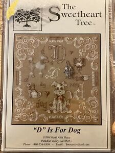 D Is For Dog Cross Stitch Kit Sweetheart Tree Retired 28 Count Linen Sealed