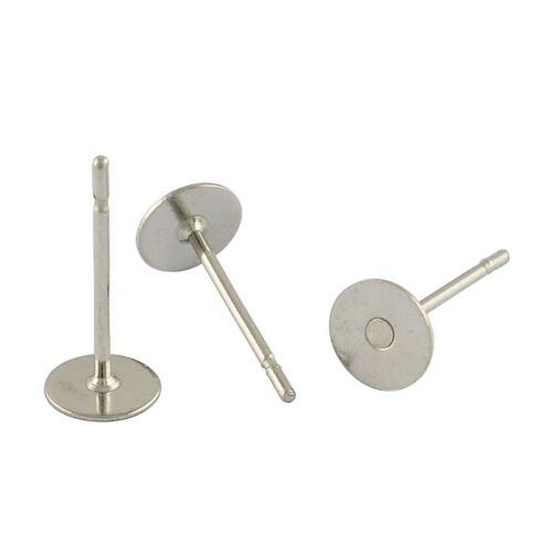 50 Ohrstecker Ohrhaken Ohrring Fassung für 6mm Cabochons Edelstahl 304 Rund M125