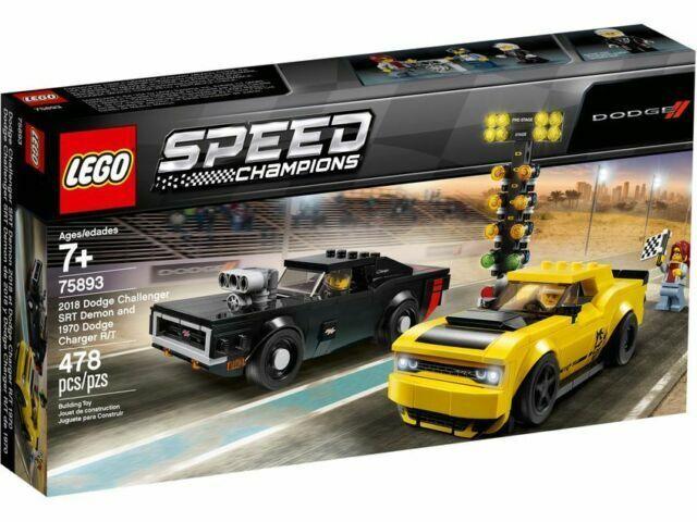 2018 Dodge Challenger SRT demonio y 1970 Lego Nuevo Lego 75893