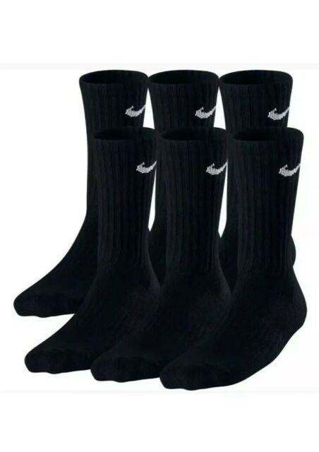 White//Black Large 6 Pairs NIKE Performance Cushion Crew Socks with Bag