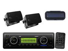 "2 White 3.5"" 200W Mini Speakers+Cover, Marine Weatherband USB MP3 SD AM/FM Radio"
