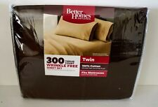 Better Homes And Gardens Twin 300 Thread Count Rich Brown Wrinkle Free Sheet  Set