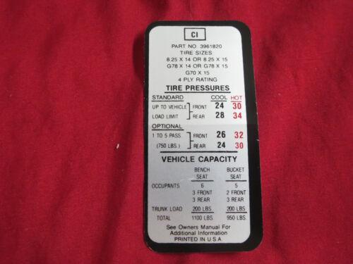 1969 1970 CHEVROLET CAPRICE DOOR PILLAR TIRE PRESSURE DECAL STICKER