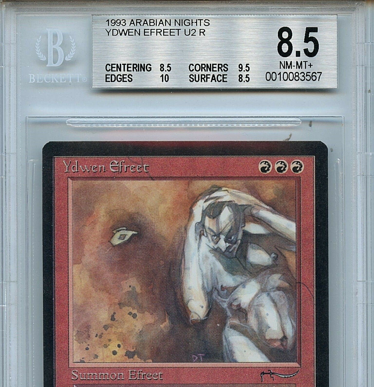 MTG Arabian Nights Ydwen Ydwen Ydwen Efreet BGS 8.5 NM-MT+ Magic the Gathering WOTC a8e190
