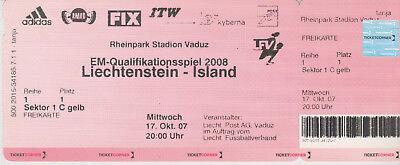 Enthousiast Sammler Used Ticket / Entrada Liechtenstein V Iceland 17-10-2007 Euro 2008 Qual. Moderne Technieken