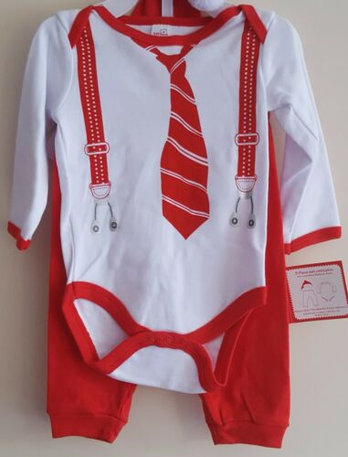 CHOICE OF DESIGNS BABY BOYS GIRLS 3 OR 4 PIECE CHRISTMAS LAYETTE SET