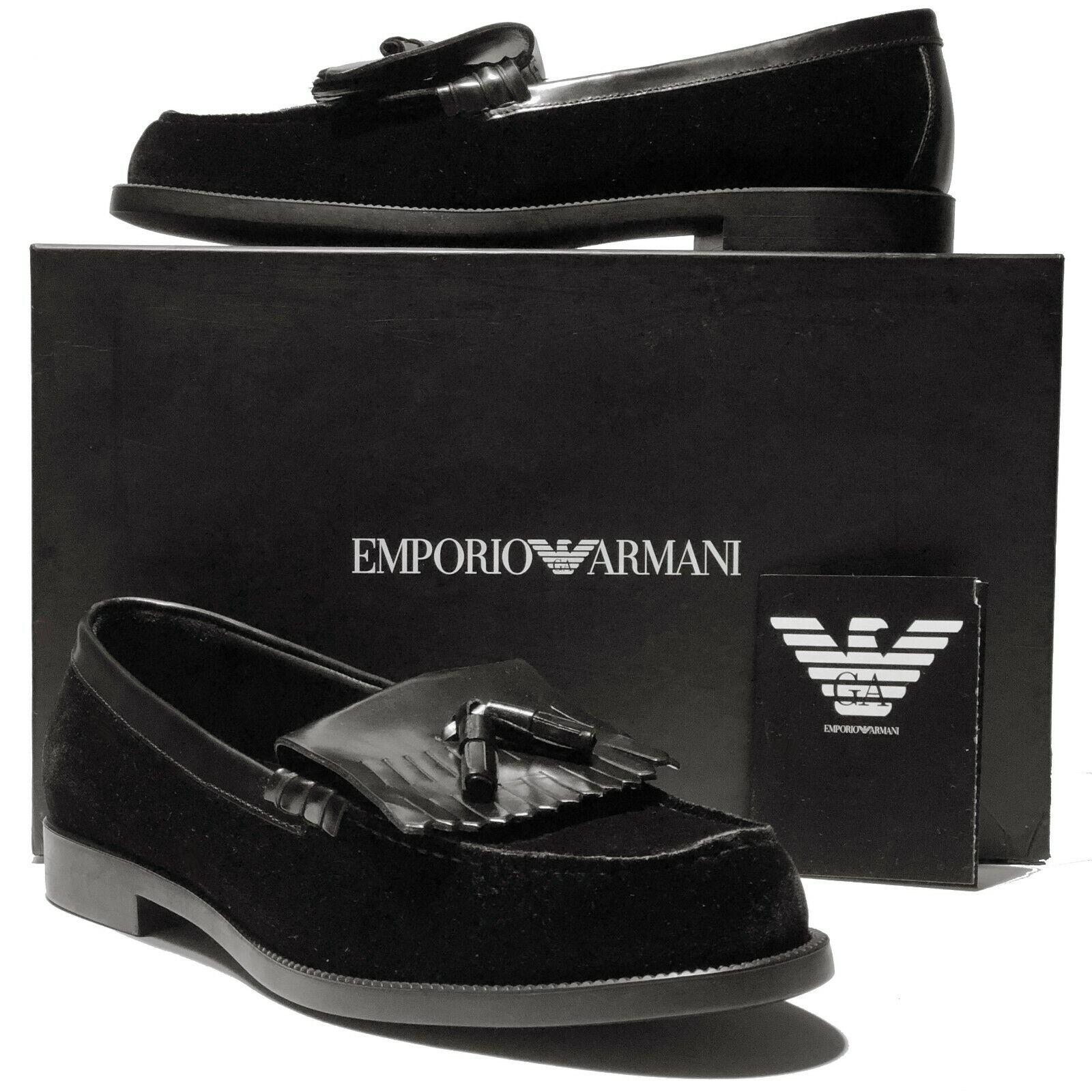 nouveau EMPORIO ARhommeI cuir noir velours   Tassel 10 43 Mocassins Chaussures hommes