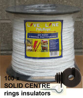 White Electric Fence Rope 400m & 100 Ring Insulators