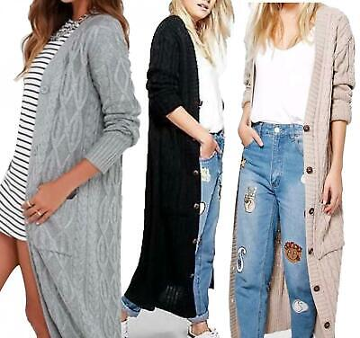 Womens Cable Knitted Maxi Cardigan Long Button Full Length Maxi Ladies UK 8-26