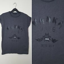 Wanna Hang Bat T-Shirt UK Size 6 8 Goth Punk Rock Metal Halloween Top Tee