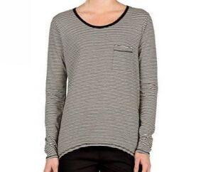 Volcom Lived In Stripe Women/'s T-Shirt Gunmetal Grey New