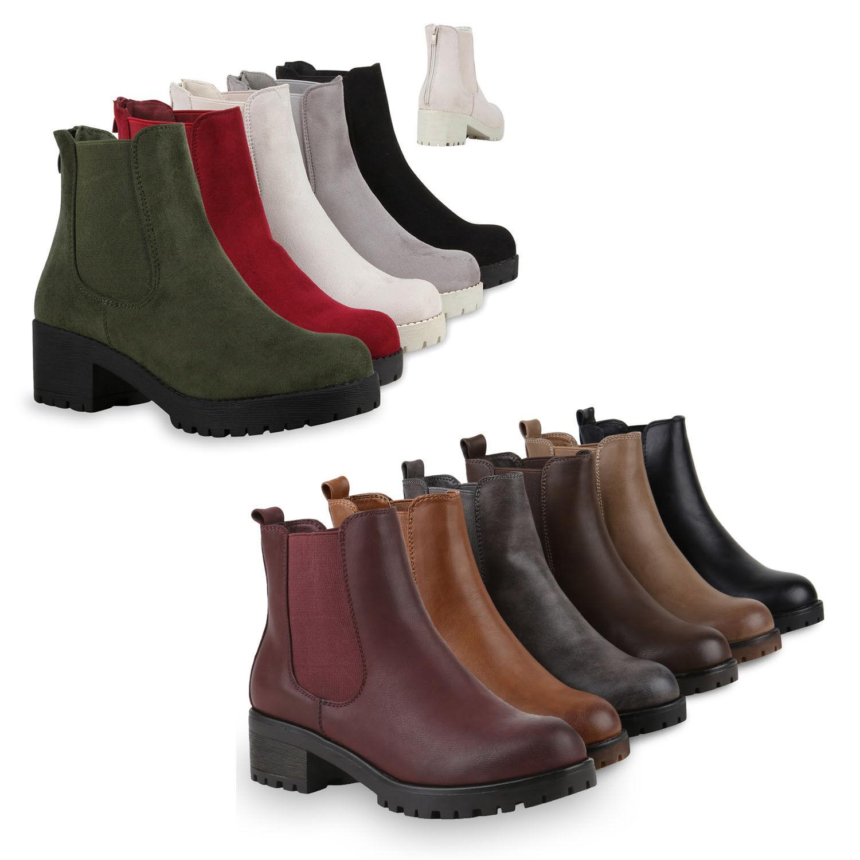 Damen Chelsea Boots Blockabsatz Plateau Stiefeletten Lederoptik 79970 Schuhe