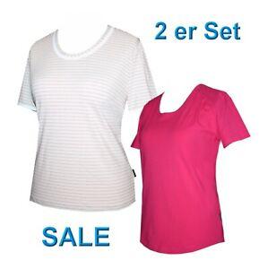 2er-Set-Schneider-Sportswear-Damen-Shirt-Pulli-T-Shirt-pink-gestreift-Gr-40-42