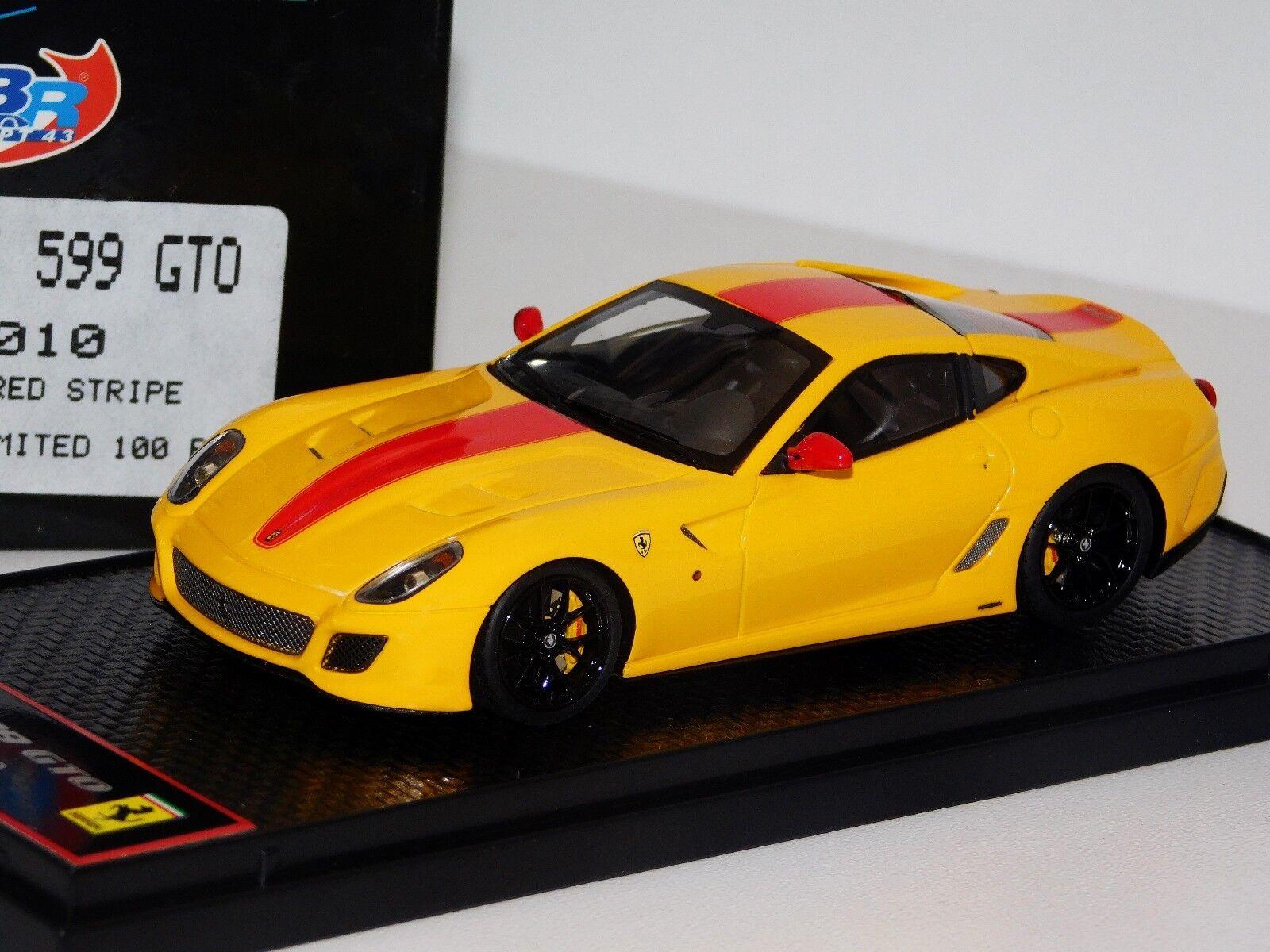 FERRARI 599 GTO 2010 YELLOW   RED STRIPES LIM. LIM. LIM. 1 100 BBR BBRC35C 1 43 af15d7
