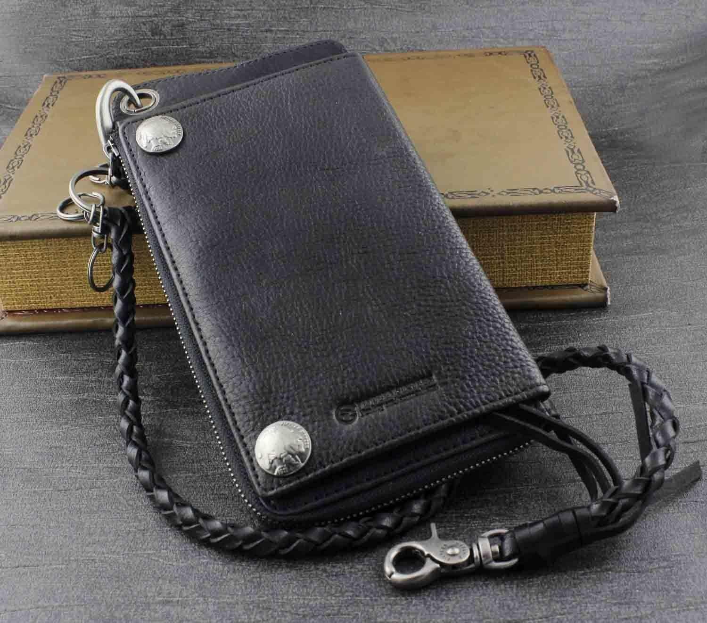 New Men's Biker Rocker Long Genuine Leather Zipper Wallet w/ Purse Chain Black