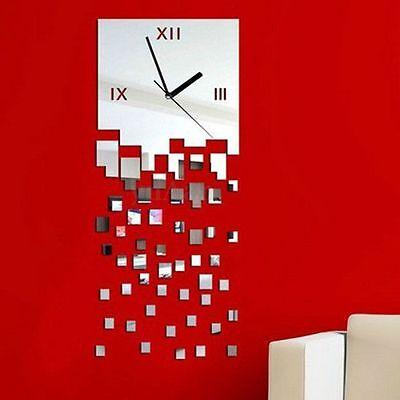 DIY Modern Mirror Wall Clock Sticker Removable Mural Art Home Office Decoration