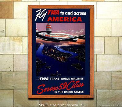 VINTAGE CALIFORNIA TWA TRAVEL A3 POSTER PRINT