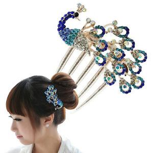 HO-HK-BU-Women-Vintage-Peacock-Rhinestone-Hair-Clip-Hair-Comb-Beauty-Tool-Jew