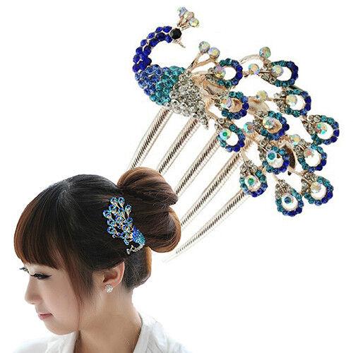 JW/_ HK BU/_ Women Vintage Peacock Rhinestone Hair Clip Hair Comb Beauty Tool J
