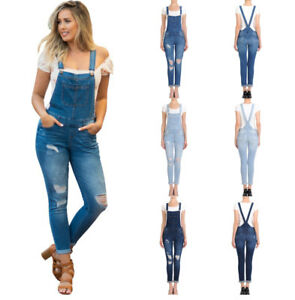 db24c4f7ecc Image is loading Womens-Juniors-Distressed-Denim-Stretchy-Overalls-Pants