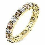 18k Gold Plated .925 Sterling Silver Eternity 3mm Champagne Cubic Zirconia Band