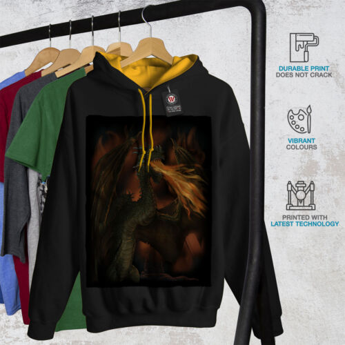Hoodie Men Contrast Dragon Spit Hood gold New Fire Black Fantasy xXwnFpSn
