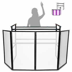 4ft-Deck-Stand-w-Vonyx-Foldable-Disco-DJ-Lighting-Screen-4-Panel-Facade-Booth
