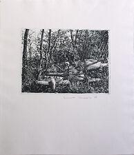 JENS CORDS - Müllhalde im Wald (1978). Handsignierte Radierung, Griffelkunst.