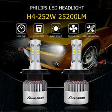 H4 252W 25200LM Philips LED Headlight Kit HIGH LOW Beam Replace Halogen Xenon US