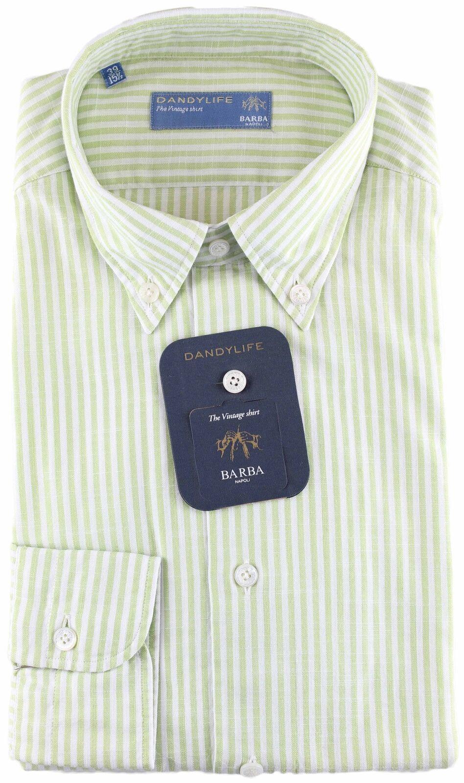 NWT BARBA NAPOLI hemd dandy life Weiß Grün striped handmade 39 15 1 2