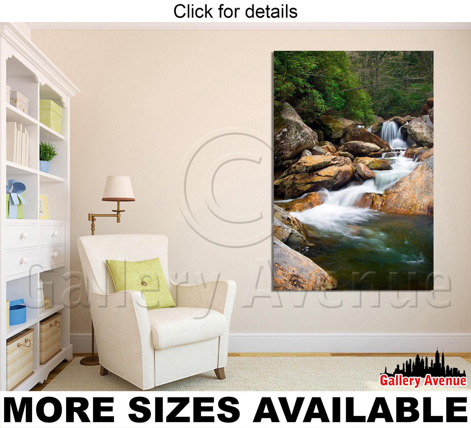 wand kunst Canvas Picture drucken - Blaurrot Waterfalls Landscape in Blau Ridge 2.3