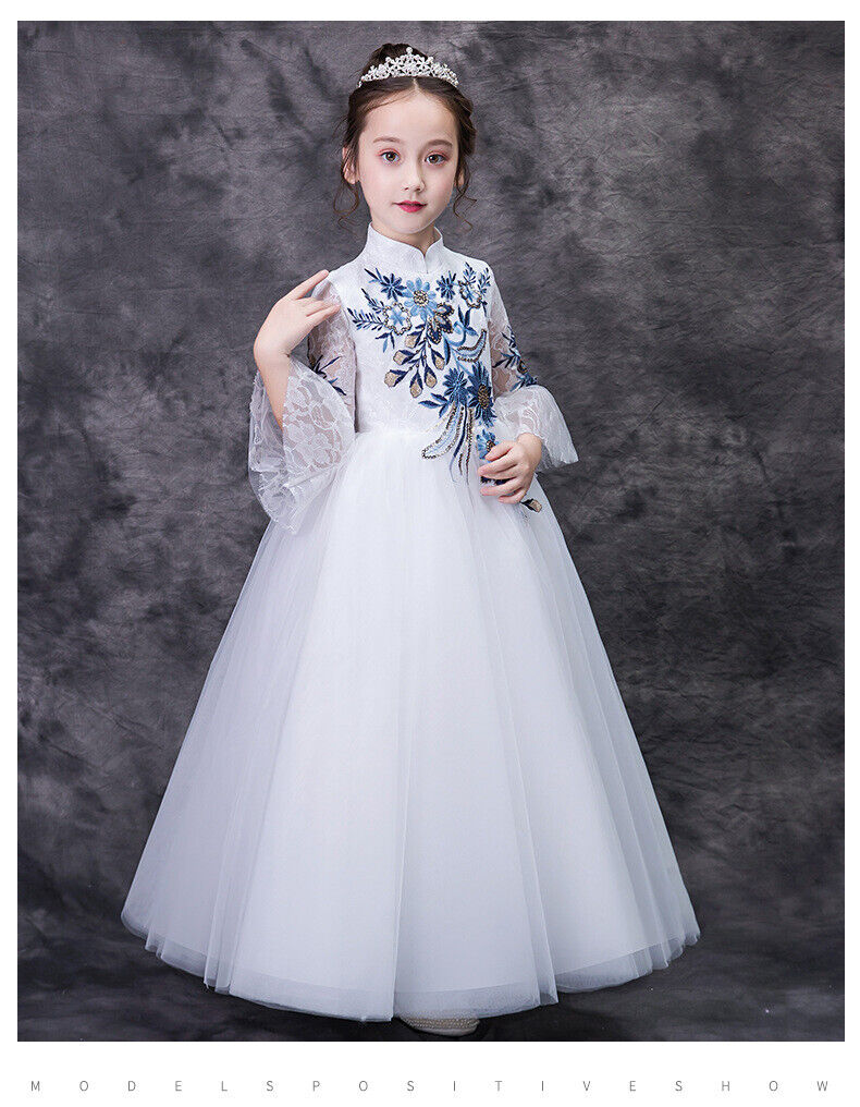 Childrens Girls Elegant Oriental Chinese Style Flower Embroidered Dress Gown