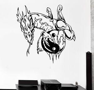 Wall sticker dragon fantasy yin yang children myth art for Meuble mural yin yang