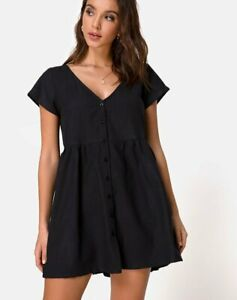 MOTEL-ROCKS-Deira-Babydoll-Dress-in-Black-Extra-Small-XS-MR40