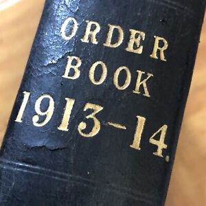Antique Ledger 1913/14 Steel Order Book Stage Film Play Prop Crafting Crafts Old