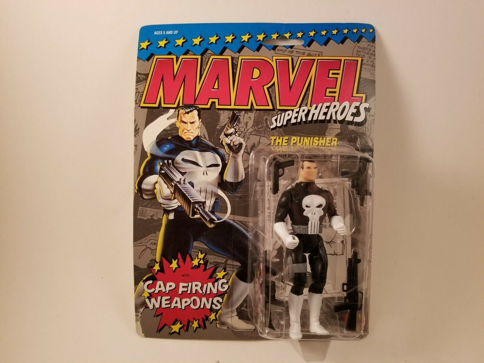 Punisher Punisher Punisher Toy Biz Super Heroes Toy w  Cap Firing Weapon Marvel Comics New Sealed d848bd