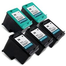 5 Pack HP 74 75 Ink Cartridge - OfficeJet J5780 J5783 J5785 J5788 J5790 J64