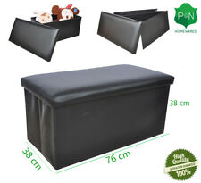 Large Black Leather Ottoman Storage Box Pouffe Footstool Toy Foldable Living NEW