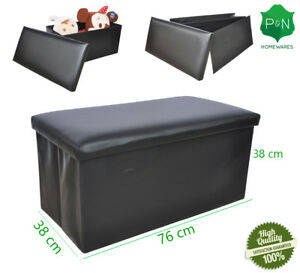 Groovy Details About Large Black Leather Ottoman Storage Box Same Day Dispatch Uk Delivery Pouffe Toy Machost Co Dining Chair Design Ideas Machostcouk